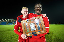 BALLYMENA, NORTHERN IRELAND - Thursday, November 20, 2014: Wales' Ben Williams and Ibby Sosani with the trophy after the 2-0 victory over Northern Ireland during the Under-16's Victory Shield International match at the Ballymena Showgrounds. (Pic by David Rawcliffe/Propaganda)