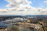 Nederland, Noord-Holland, Amsterdam, 14-06-2012; Westpoort, Havengebied Amsterdam met zicht op Mercuriushaven en de Houthaven. Amsterdam-Noord en binnenstad op het tweede plan..View on port, industrial and office area in western Amsterdam, the North of Amsterdam  (l)and the Old Town (r) in the back..luchtfoto (toeslag), aerial photo (additional fee required).foto/photo Siebe Swart