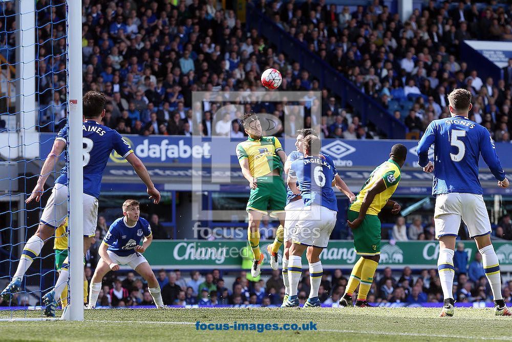 Russell Martin of Norwich wins a header during the Barclays Premier League match at Goodison Park, Liverpool<br /> Picture by Paul Chesterton/Focus Images Ltd +44 7904 640267<br /> 15/05/2016