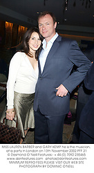 MISS LAUREN BARBER and GARY KEMP he is the musician, at a party in London on 13th November 2002.	PFF 21