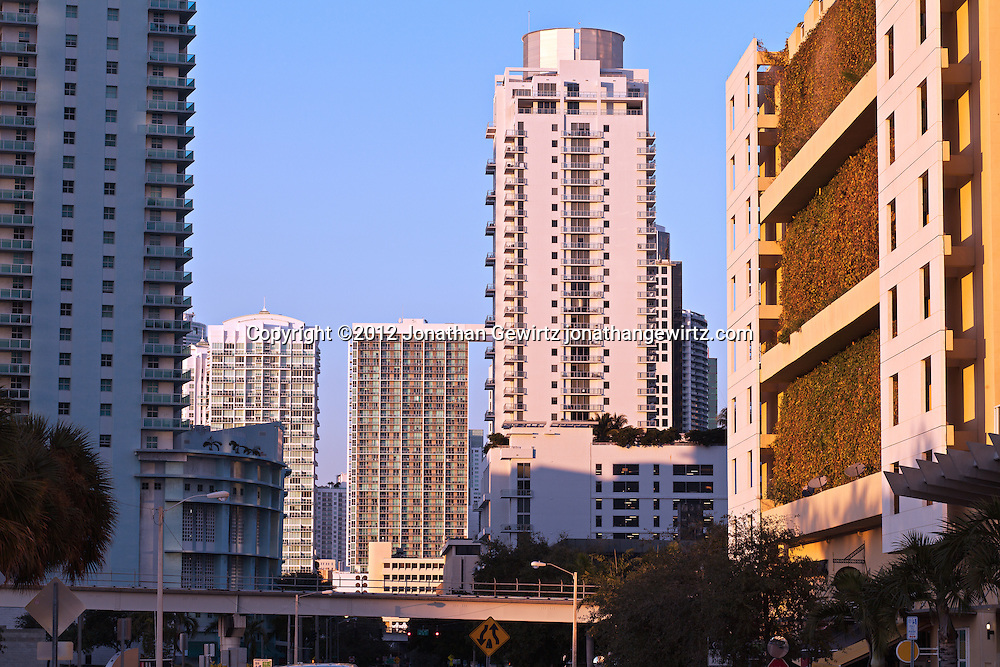 Condos and elevated Metromover track on South Miami Avenue in Miami's Brickell neighborhood. WATERMARKS WILL NOT APPEAR ON PRINTS OR LICENSED IMAGES.