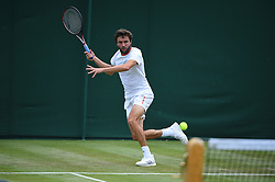 Gilles Simon (FRA) during his first round match at the 2019 Wimbledon Championships at the AELTC in London, UK on July 2, 2019. Photo by Corinne Dubreuil/ABACAPRESS.COM