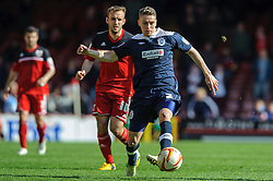 Huddersfield Defender Calum Woods (ENG) is challenged by Bristol City Midfielder Liam Kelly (SCO) during the second half of the match - Photo mandatory by-line: Rogan Thomson/JMP - Tel: Mobile: 07966 386802 27/04/2013 - SPORT - FOOTBALL - Ashton Gate - Bristol. Bristol City v Huddersfield Town - npower Football League Championship.