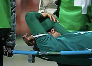 WROCLAW 26/10/2010.Puchar Polski 1/8 finalu .Sezon 2010/2011.Slask Wroclaw v Legia Warszawa.Na zdj. Kontuzjowany Cristian Diaz /Slask/.Fot. Piotr Hawalej / WROFOTO