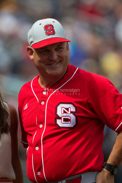 North Carolina State Wolfpack head coach Elliott Avent looks on during Game 3 of the 2013 Men's College World Series between the North Carolina State Wolfpack and North Carolina Tar Heels at TD Ameritrade Park on June 16, 2013 in Omaha, Nebraska. The Wolfpack defeated the Tar Heels 8-1. (Brace Hemmelgarn)