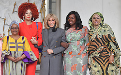 Exclusive - France's first lady Brigitte Macron welcomes Mali's first lady Keïta Aminata Maiga, Sierra Leone's first lady Fatima Maada Bio, Cameroun's first lady Chantal Biya, Tchad's first lady Hinda Deby Itno at the Elysee presidential palace in Paris, France, on November 12, 2019. Photo by Christian Liewig/ABACAPRESS.COM