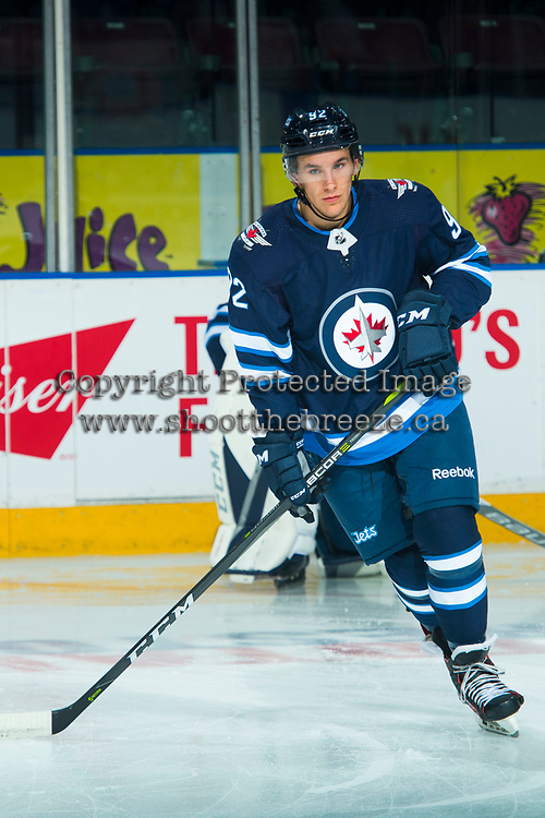 PENTICTON, CANADA - SEPTEMBER 8:Kody McDonald #92 of Winnipeg Jets warms  up against the Vancouver Canucks on September 8, 2017 at the South Okanagan Event Centre in Penticton, British Columbia, Canada.  (Photo by Marissa Baecker/Shoot the Breeze)  *** Local Caption ***