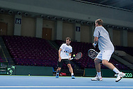 (L) Mariusz Fyrstenberg & (R) Marcin Matkowski both from Poland while training session three days before the BNP Paribas Davis Cup 2014 between Poland and Croatia at Torwar Hall in Warsaw on April 1, 2014.<br /> <br /> Poland, Warsaw, April 1, 2014<br /> <br /> Picture also available in RAW (NEF) or TIFF format on special request.<br /> <br /> For editorial use only. Any commercial or promotional use requires permission.<br /> <br /> Mandatory credit:<br /> Photo by © Adam Nurkiewicz / Mediasport