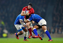 Ben Morgan of England  is double-tackled - Photo mandatory by-line: Patrick Khachfe/JMP - Mobile: 07966 386802 22/11/2014 - SPORT - RUGBY UNION - London - Twickenham Stadium - England v Samoa - QBE Internationals