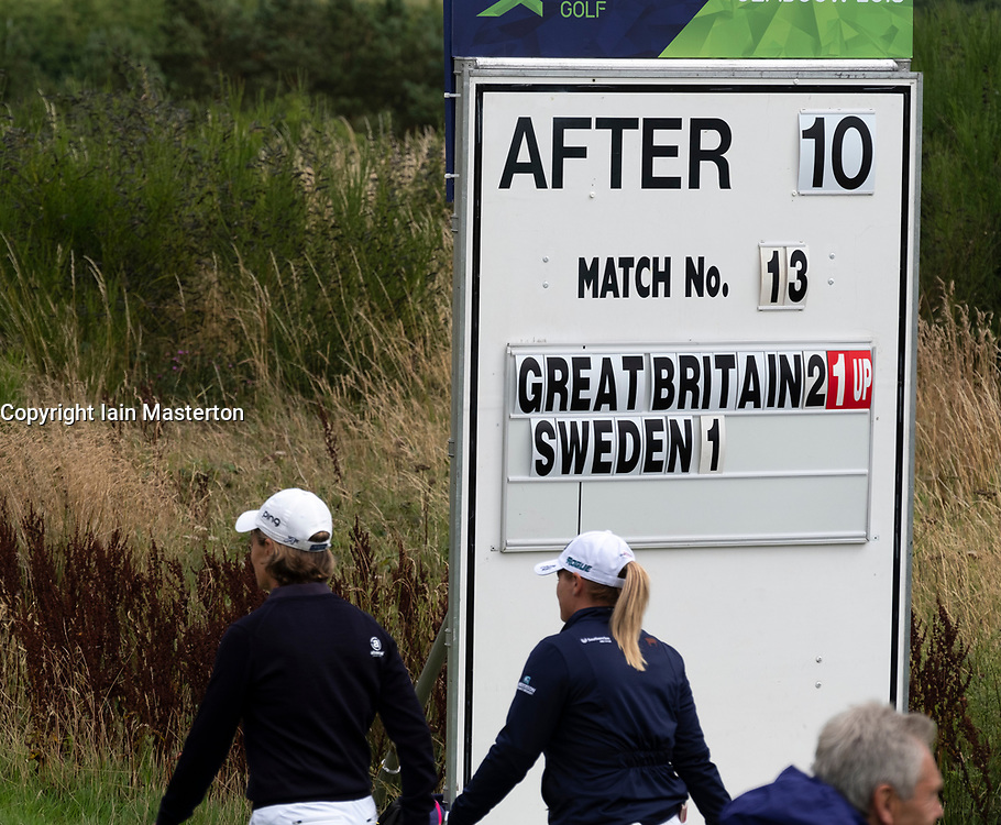 Gleneagles, Scotland, UK; 8 August, 2018.  European Championships 2018. Day one of golf competition at Gleneagles..Men's and Women's Team Championships Round Robin Group Stage - 1st Round. Four Ball Match Play format. Match 13 Great Britain 2 v Sweden 1 Ladies. Catriona Matthew and Holly Clyburn won 3 and 2.