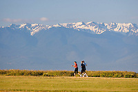 Three early morning joggers run along Dallas Road, with the Olympic Mountains as a backdrop.  Victoria, British Columbia, Canada.