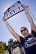 November 1, 2008  -- PHOENIX, AZ: MICHELLE TREVINO, from Phoenix, cheers for Barack Obama during an anti John McCain rally in Phoenix Saturday. About 200 people attended an anti John McCain rally in Phoenix, a block from the Senator's Arizona office. The rally was organized by the Arizona End the War Coalition.   Photo by Jack Kurtz / ZUMA Press