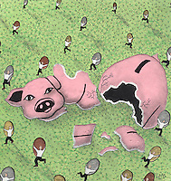 A huge piggy bank has smashed into pieces on the ground and small figures are running away with the coins that have spilled out on to the grass.