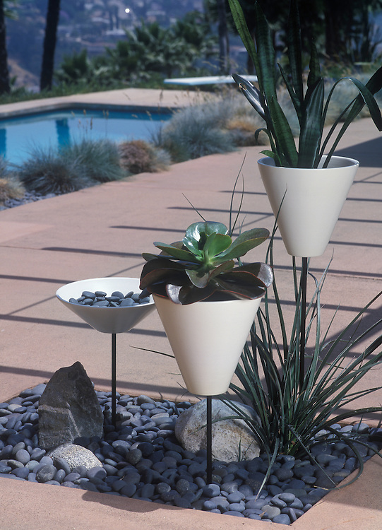 Outdoor photo of three Architectural Pottery plant vases near swimming pool at 60's modern house.