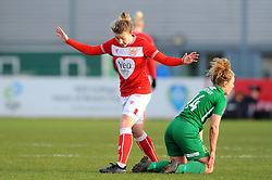 Loren Dykes of Bristol City tackles Emily Donovan of Yeovil Town Ladies- Mandatory by-line: Nizaam Jones/JMP - 27/01/2019 - FOOTBALL - Stoke Gifford Stadium - Bristol, England - Bristol City Women v Yeovil Town Ladies- FA Women's Super League 1