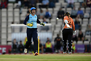 Alyssa Healy of Yorkshire Diamonds celebrates the wicket of Marie Kelly during the Women's Cricket Super League match between Southern Vipers and Yorkshire Diamonds at the Ageas Bowl, Southampton, United Kingdom on 21 August 2019.