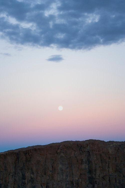 Moonrise over basalt cliffs eastern Washington State USA&amp;#xA;<br />