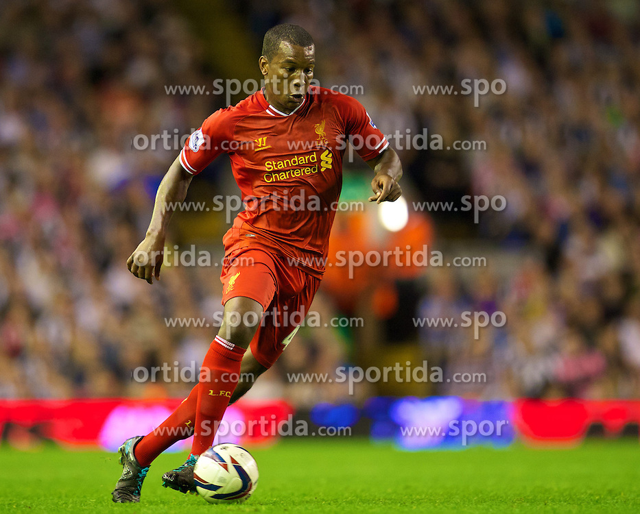27.08.2013, Anfield, Liverpool, ENG, League Cup, FC Liverpool vs Notts County FC, 2. Runde, im Bild Liverpool's Andre Wisdom in action against Notts County during the English League Cup 2nd round match between Liverpool FC and Notts County FC, at Anfield, Liverpool, Great Britain on 2013/08/27. EXPA Pictures &copy; 2013, PhotoCredit: EXPA/ Propagandaphoto/ David Rawcliffe<br /> <br /> ***** ATTENTION - OUT OF ENG, GBR, UK *****