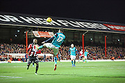 Ben MARSHALL in Brentford box looking for goal during the Sky Bet Championship match between Brentford and Blackburn Rovers at Griffin Park, London, England on 13 December 2014.