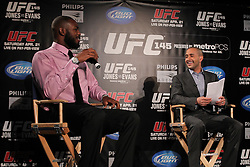 Atlanta, GA - April 18, 2012:  The UFC's Jon Anik (r) and UFC Light Heavyweight champion Jon Jones (l) during the final press conference for UFC 145 at the Park Tavern in Atlanta, Georgia.