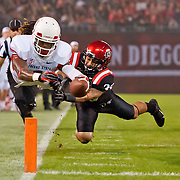 26 October 2013: Fresno State WR Isaiah Burse (1) dives for a touchdown during the NCAA Division I game between the San Diego State Aztecs and the Fresno State Bulldogs at Qualcomm Stadium in San Diego, CA.