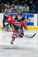 KELOWNA, CANADA - NOVEMBER 7: Kris Schmidli #16 of Kelowna Rockets skates against the Spokane Chiefs on November 7, 2014 at Prospera Place in Kelowna, British Columbia, Canada.  (Photo by Marissa Baecker/Shoot the Breeze)  *** Local Caption *** Kris Schmidli;