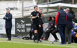 Match referee Craig Hicks speaks with Peterborough United Manager Steve Evans during the match - Mandatory by-line: Joe Dent/JMP - 07/04/2018 - FOOTBALL - Home Park - Plymouth, England - Plymouth Argyle v Peterborough United - Sky Bet League One