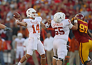 October 01, 2011: Texas Longhorns quarterback David Ash (14) throws the ball during the first half of the game between the Iowa State Cyclones and the Texas Longhorns at Jack Trice Stadium in Ames, Iowa on Saturday, October 1, 2011. Texas defeated Iowa State 37-14.