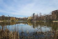 The Harlem Meer in Central Park looking west.