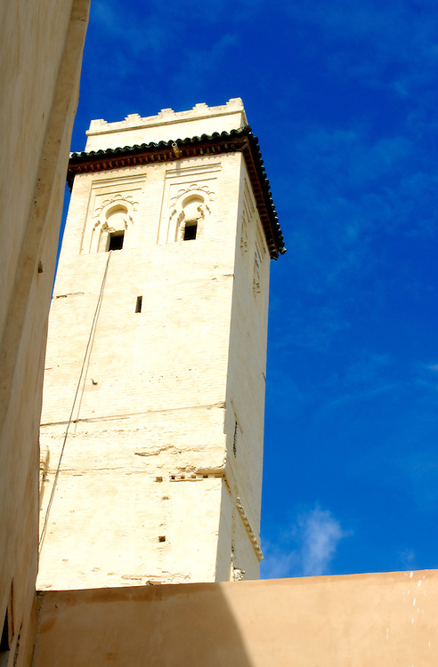 Minaret in the medina of Fez. Established in the 9th century AD, the medina is now a UNESCO World Heritage Site.
