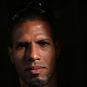 A portrait of Javier Culson, Puerto Rico, 400 meter hurdles, at the Adidas Grand Prix Press Conference, Hyatt Grand Central, New York ahead of the Adidas Grand Prix at Icahn Stadium, Randall's Island. Manhattan, New York. 24th May 2012. Photo Tim Clayton