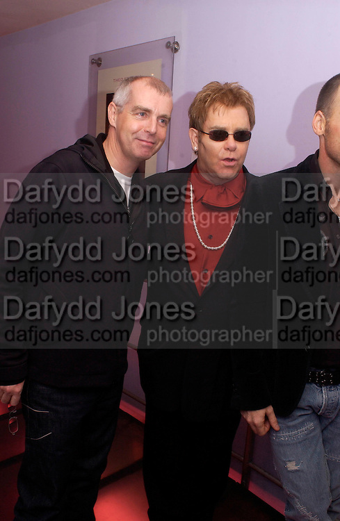 Neil Tennant and Sir elton John, Theo Fennell party to celebrate their 21st Anniversary. The Collection. 28 October 2003. © Copyright Photograph by Dafydd Jones 66 Stockwell Park Rd. London SW9 0DA Tel 020 7733 0108 www.dafjones.com