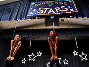 """Let's Get Crazy"" performers Morgan Jackson and Sarah Wright, who also shared M.C. duties, finish their skit at the Sagamore Hills Elementary School Talent Night event in Atlanta on Friday Oct. 22, 2010. This photo was made by second grader Lauren E. Tulis. (Lauren Tulis/Staff/laurentulis@clear.net)"