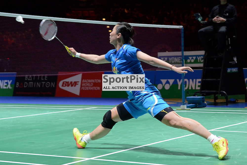 Wang Xiaoli plays a winning shot to claim the title as Wang Xiaoli/Yu Yang of China face Ma Jin/Tang Yuanting of China during the Women's Doubles Final at the Yonex All England Open Badminton Championship at the National Indoor Arena, Birmingham on Sunday 9th March 2014 (c) Garry Griffiths | SportPix.org.uk
