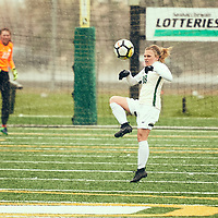4th year defender, Cassie Longmuir (18) of the Regina Cougars during the Women's Soccer home game on Sat Sep 22 at U of R Field. Credit: Arthur Ward/Arthur Images