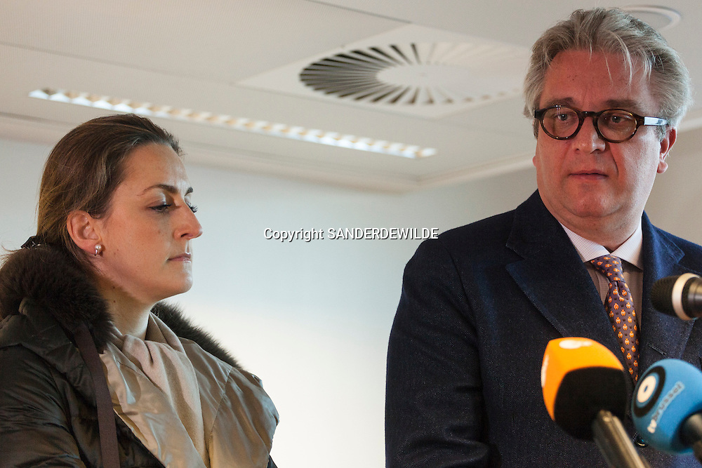 Prince Laurent of Belgium, and the Prince Laurent Fondation opens temporary shelters in Brussels for homeless with dogs.   on this picture Princess Claire (l) angry on the press taking the parole and Prince Laurent. Brussels, Belgium, 6 december 2011.