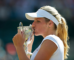 LONDON, ENGLAND - Saturday, July 3rd, 2010: Kristyna Pliskova (CZE) kisses the trophy after winning the Girls' Singles Final 6-3, 4-6, 6-4 on day twelve of the Wimbledon Lawn Tennis Championships at the All England Lawn Tennis and Croquet Club. (Pic by David Rawcliffe/Propaganda)