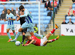 Bristol City's Luke Freeman is fouled by Coventry City's Adam Barton  - Photo mandatory by-line: Joe Meredith/JMP - Mobile: 07966 386802 - 18/10/2014 - SPORT - Football - Coventry - Ricoh Arena - Bristol City v Coventry City - Sky Bet League One