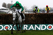 Second placed Bristol De Mai and Daryl Jacob clear the last fence inThe Betway Bowl Steeple Chase Race at Aintree, Liverpool, United Kingdom on 12 April 2018. Picture by Craig Galloway.