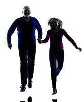 one caucasian couple senior silhouette  in silhouette studio isolated on white background