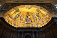 Mosaic dome of Christ at the Basilica of St. Paul's Outside the Walls in Rome.