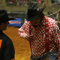 Libby Ezell | BUY AT PHOTOS.DJOURNAL.COM<br /> Rodeo Clowns Cade Parks, left, and Lecile Harriss chat before an event