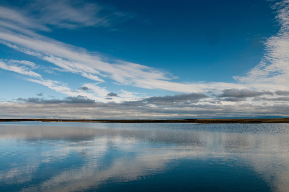 ANWR Sky Reflection-<br /> Sky reflection in the Canning River out on the Arctic Cosatal Plain, Arctic National Wildlife Refuge, Alaska