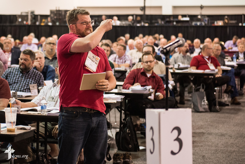 The Rev. Nicholas Koschmann, voting delegate and pastor of Mount Olive Lutheran Church in Forest Grove, Ore., becomes frustrated when his chance to speak was lost on Wednesday, July 13, 2016, at the 66th Regular Convention of The Lutheran Church–Missouri Synod, in Milwaukee. LCMS/Frank Kohn