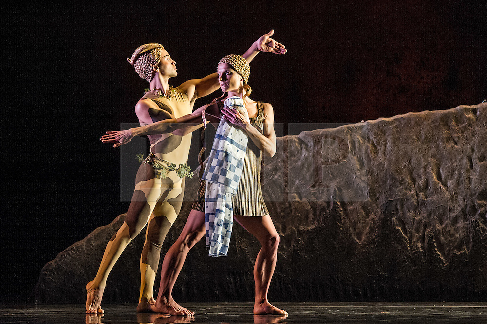 © Licensed to London News Pictures. 15/05/2012. London, UK. Following 10 years at the helm of Rambert Dance Company, Artistic Director Mark Baldwin presents a modern-day take on Nijinskys 100 year old LAprès-midi dun faune, plus his version of this influential work will also be performed, revived by the Company for the first time in almost 30 years. Picture shows: Dane Hurst & Pieter Symonds in L'Apres-midi d'un faune... Photo credit : Tony Nandi/LNP