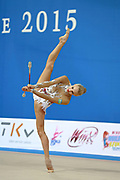 Nazarenkova Elizaveta of Uzbekistan competes durin Individual qulification of clubs in the World Cup at Adriatic Arena on April 11,2015 in Pesaro, Italy. Elizaveta is an individual rhythmic gymnast of Russian origin born in Murmansk in 1995.