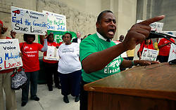 30 April 2013. Baton Rouge, Louisiana,  USA. .March on Baton Rouge, Enough is Enough. .Leonal Hardman, President of AFSCME Louisiana Council 17 speaks passionately to protesters. A coalition of 40 Louisiana Organisations protest what many believe to be the 'Economic and fiscal disaster that is the administration of Governor Bobby Jindal.' Top of the agenda,  Jindal's refusal to accept the expansion of MEDICAID, instead denying coverage to over 400,000 citizens with Jindal refusing to accept federal funding for  'Obamacare.' Slashed state spending on education, social services and critical community based organisations is having far reaching and devastating effects on ordinary and poor citizens in Louisiana..Photo; Charlie Varley.