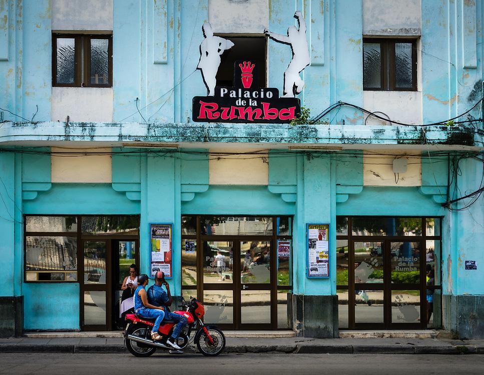 """HAVANA, CUBA - CIRCA MAY 2017:  Facade of the """"Palacio de la Rumba"""" en Havana. A popular destination."""