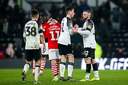 Wayne Rooney of Derby County celebrates with Max Bird of Derby County after victory over Barnsley - Mandatory by-line: Robbie Stephenson/JMP - 02/01/2020 - FOOTBALL - Pride Park Stadium - Derby, England - Derby County v Barnsley - Sky Bet Championship