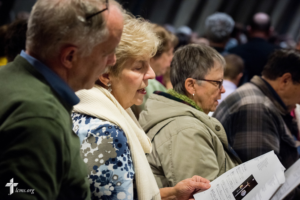 Visitors sing during the 500th Anniversary of the Reformation service on Tuesday, Oct. 31, 2017, at Concordia Theological Seminary, Fort Wayne, Ind. LCMS Communications/Erik M. Lunsford
